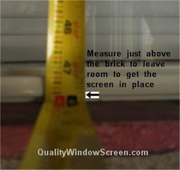 Measure Bottom Solar Screen for Turn Clips