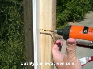 Drill Pilot Hole in Patio Screen Panel Frames
